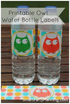 Printable water bottle labels perfect for an owl themed party #CuteOwls #PartyPrintables