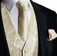 Men's 3pc Paisley Design Dress Vest Tie Handkerchief Set For Suit or Tuxedo (M (Chest 42), Beige)