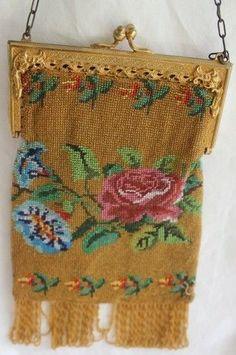 Bags, Handbags & Cases Antique Gold T Diamond Frame Amber Orange Hand Crochet Fringe Bead Lined Purse Soft And Antislippery