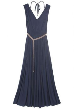 Blue Sleeveless Metal Belt Pleated Silk Dress