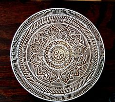 Hand Carved Very Large Round Wood Stamp Indian by PrintBlockStamps, $54.95