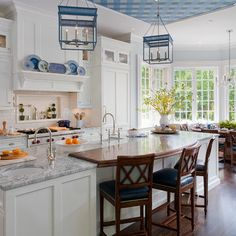 traditional white and blue kitchen - traditional - kitchen - new york - Kathleen Walsh Interiors, LLC
