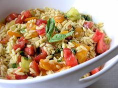 Heirloom tomato orzo salad, to go with my grilled Gulf Shrimp.  Yum!