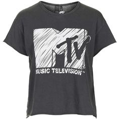 Mtv Print Tee by and Finally ($36) ❤ liked on Polyvore featuring tops, t-shirts, black, black tee, black top, black cotton t shirt, print tee and vintage t shirts