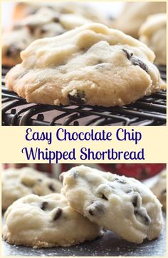 Christmas Time Melt in Your Mouth Easy Chocolate Chip Whipped Shortbread, the best made with corn starch Shortbread Holiday Cookie Recipe.(Best Brownies With Chocolate Chips) Holiday Cookie Recipes, Holiday Cookies, Holiday Baking, Christmas Baking, Christmas Time, Christmas Ideas, Fall Cookies, Christmas Candy, Yummy Cookies