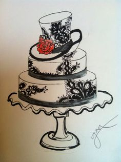 Black and White Wedding Cake Sketch