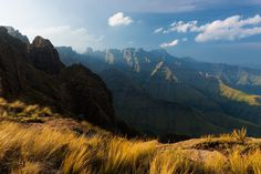 landscape photograph of a stormy sunset over the drakensberg mountains in south africa