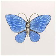Silver Enamel Butterfly Brooch/Pin - Volmer Bahner - Denmark