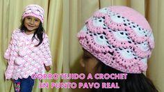 Gorro tejido a crochet para niñas paso a paso tejido en punto pavo real ...