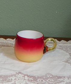 Wheeling Peachblow Punch Cup in Glossy Finish and Ring Handle - 2 1/2 inch HOA
