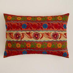 Or perhaps this one?   WorldMarket.com: Red Stripe Boho Lumbar Pillow
