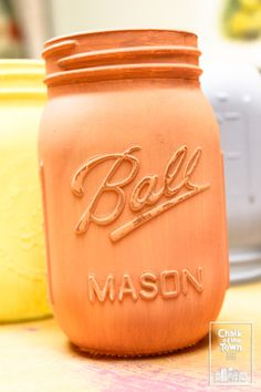 """We paint everything with Chalk Of The Town® Paint - and we love Mason Jars! 💜 (we used """"Catalan Sauce"""" Best Chalk Paint, Mason Jars, Mugs, Colors, Tableware, Projects, Painting, Log Projects, Dinnerware"""