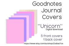 GoodNotes Journal Covers for iPad Pro Digital Journal, Good Notes, Journal Covers, Glossier Stickers, Ipad Pro, Slogan, Pink Purple, Etsy Shop, Messages