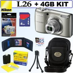 Nikon COOLPIX L26 16.1 MP Digital Camera (Silver) + 4GB Accessory Kit by Nikon. Save 19 Off!. $108.95. Get outstanding image detail with the Coolpix L26 16.1 MP sensor. Frame your shot with a 5x optical Zoom-NIKKOR glass lens. Record HD (720p) movies and share the good times on the large 3.0-inch LCD monitor.  Let the camera do the thinking:  Practical settings. Extraordinary results. Keep it simple. Let Easy Auto Mode automatically select the best camera settings for the most frequently…