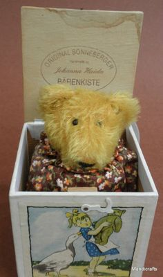 Sonneberger Germany POP UP Jack In a Box Mohair Bear Squeaks!