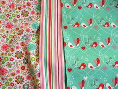 Patchwork Stoffe,Baumwolle,Grün,Weiß,Vögel,Streifen,Blumen,Rot,Rosa