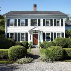 The Happy House Manifesto: Curb Appeal: Wooden Front Doors Colonial House Exteriors, Colonial Exterior, Exterior Windows, Exterior Colors, Exterior Paint, Exterior Design, Style At Home, Center Hall Colonial, Wooden Front Doors