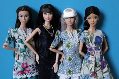 Thanks to Squish Tish's etsy store, my girls are decked out in beautiful, rare fabrics.  From left to right: Up in the Air Poppy Parker (Whitney), Model Basics Lea/Barbie (in a gorgeous peplum dress!), Beatnik Blues Poppy Parker, and Elizabeth.   Many of her items are handsewn and use vintage or hard to find fabrics, making these particular outfits one of a kind.