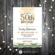 Birthday invitation adult boho birthday by AmeliyInvite on Etsy