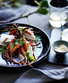 Australian Gourmet Traveller recipe for roast carrots with honey, sesame and parmesan by Mat Lindsay from Ester, Sydney.
