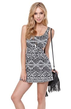 La Hearts Cutout Fit N Flare Tribal Dress