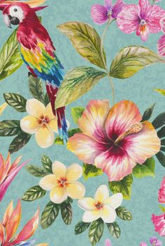 A fun and exotic wallpaper design featuring large scale flowers and a repeated motif of an elegant parrot.