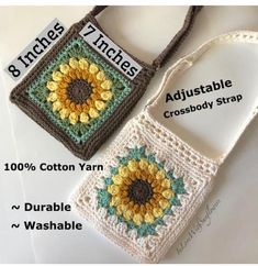 Crochet Purse with crossbdy strap adjustable - Handmade Purse - Sunflower Purse - Crochet Bag, Vegan, gift for her - gift for mom - Boho - Crochet Wallet, Crochet Purses, Crochet Gifts, Cute Crochet, Crochet Baby, Knit Crochet, Yarn Projects, Crochet Projects, Crochet Designs