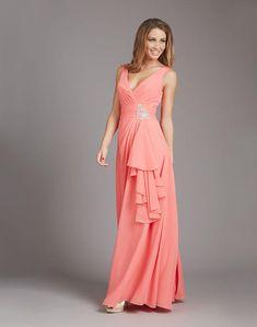 9cbf8be609 Popular Beaded V-Neck Long Chiffon Bridesmaid Dress Patterns Free  Measurement