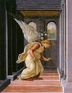 Sandro Botticelli The Annunciation, , Metropolitan Museum of Art, New York. Read more about the symbolism and interpretation of The Annunciation by Sandro Botticelli. Michelangelo, Giorgio Vasari, Renaissance Kunst, Renaissance Paintings, Italian Painters, Italian Artist, Archangel Gabriel, Art Case, Medieval Art