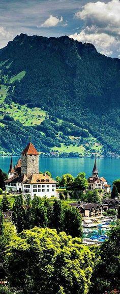 In picturesque Lake Thun, Switzerland.