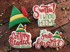 Christmas Snacks, Christmas Elf, Christmas Movies, Christmas Baking, Christmas Doodles, Iced Cookies, Cute Cookies, Holiday Cookies, Sugar Cookies