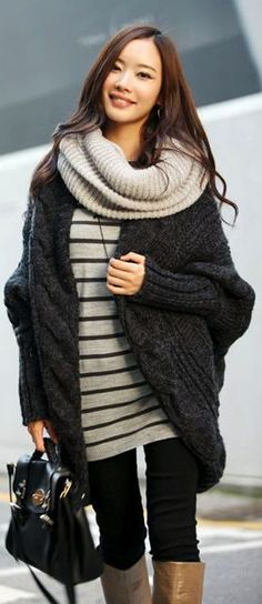Fashionista: Gorgeous Style in High class coat and Striped Sweater plus lovely scarf