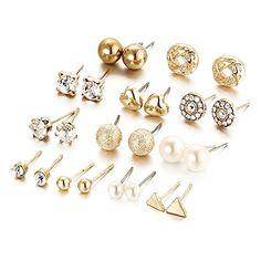Shipinwei Fashion 12 pair/set Women Square Crystal Heart Stud Earrings for Women Piercing Simulated Pearl Flower Earring Jewelry Fashion Earrings, Women's Earrings, Fashion Jewelry, Women's Fashion, Unique Earrings, Fashion Accessories, Accessories Jewellery, Cheap Earrings, Earrings Online
