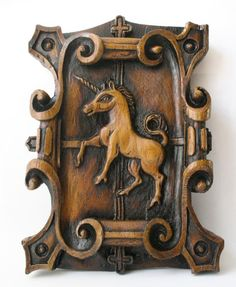 Unicorn - Reproduction Medieval Cathedral Wood Carving - Mythical Gift
