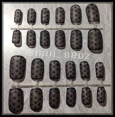 Black Matte polkadot Press on nail sets for sale in my etsy shop! Find me on IG and FB @nail_bedz