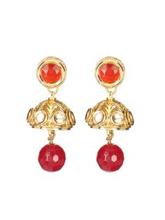 Trendy Red Kundan Hanging Earrings For Women #Ekatrra #Gold #Earring #Fashionable #Partywear #Accessories #Jewellery #Gift #Trendy #Womenshopping #onlineShopping #Stylish #Women #Stud Shop Now: http://bit.ly/1PaL4vd
