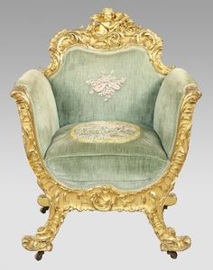 Grand Ornately Carved Gilt Italian Rococo Throne Wing Chairs Furniture 1900-1950