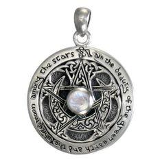 Sterling Silver Moon Pentacle Pentagram Pendant Rainbow Moonstone