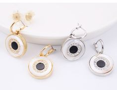 New Fashion Design Shiny Crystal GoldSilver Color Shell Alloy Round Pendant Enamel Statement Dangle Earrings Jewelry For women
