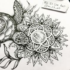 Close up on the mandala of the turtle tattoo commission I worked on :) #miletune