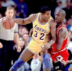 Michael Jordan and Magic Johnson square in the 1990-91 NBA Finals, Bulls victorious. MJ wins his first NBA championship.  This seanson also would mark his second NBA MVP award and his first NBA Finals MVP.