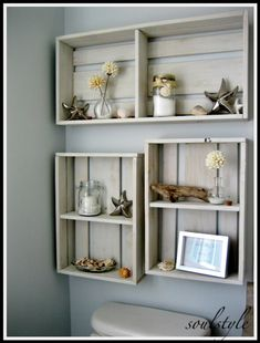 Craft store crates become versatile, space-saving wall storage units. Description from pinterest.com. I searched for this on bing.com/images