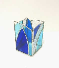 Stained Glass Candle Holder - Blue and Clear - Abstract Geometric Design - Pencil Holder - Desk Accessory - Modern Decor - Contemporary Art by StainedGlassYourWay on Etsy