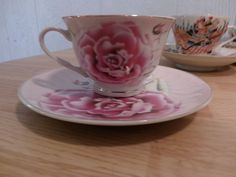 Floral Design Trimmed in Gold Tea Cup and Saucer Made in Japan