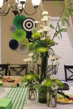{Artistic Anya Designs} Custom floral arrangements - Mason Jars - Alligator Themed Baby Shower