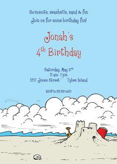 Sandcastle Beach Birthday Invite - send invites to B & B & grandpa