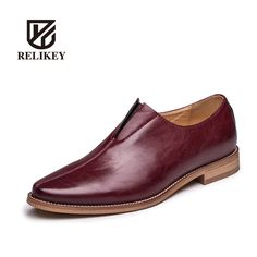 225cc794ae9 RELIKEY 005 Genuine Leather Three Colors Handmade fashion men flats  Business Dresses