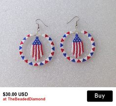 Beaded Pierced Style Hoop Earrings In Red, White, and Blue with Center Dangles