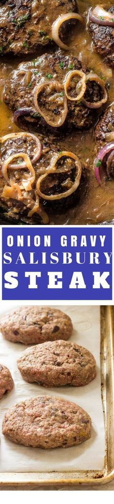 This classic American salisbury steak from scratch is seared and simmered in a rich brown luscious onion gravy. Mouth watering, tender, salisbury steak steak so delicious and easy to make. Salisbury steak with gravy will become you favorite weeknight ultimate comfort food!