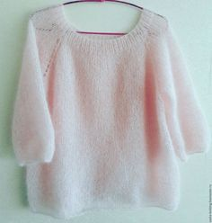 Pullover from the most delicate mohair on silk. Delicate and fluffy pullover with sleeve from kid mohair on silk] Knitted on knitting needles with. Loom Knitting, Baby Knitting, Knitting Patterns, Knitting Needles, Loose Knit Sweaters, Mohair Sweater, Angora, How To Purl Knit, Knit Fashion